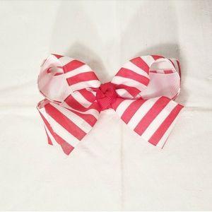 Red & White Striped Hair Bow Ribbon